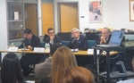 (l-r) UNA Brooklyn Chapter's Gabriel Levitt moderated the UN Day panel with Peter Navario of UNAIDS, UNICEF's Ian Pett, and Adam Deixel of Family Care.International.